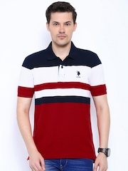 U.S. Polo Assn. Red & Navy Striped Polo T-shirt