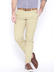 Indian Terrain Khaki Low-Rise Brooklyn Slim Trousers
