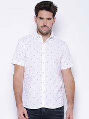 Pepe Jeans White Printed Linen Semi Fit Casual Shirt