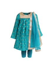 A Little Fable Girls Blue Churidar Kurta with Dupatta