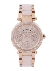 Michael Kors Women Dusty Pink Stone-Studded Dial Watch 6110I
