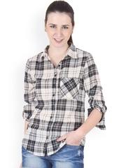 Ruhaans Beige & Black Checked Comfort Fit Shirt