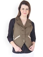 Ruhaans Olive Green Waistcoat