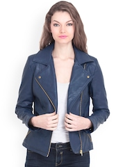 FabAlley Navy Leather Jacket