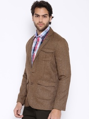 The Indian Garage Co. Brown Single-Breasted Casual Blazer