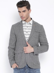 The Indian Garage Co. Grey Single-Breasted Slim Fit Blazer