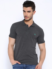 The Indian Garage Co Charcoal Grey Slim Polo T-shirt