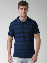 Mast & Harbour Blue Striped Polo T-shirt