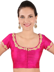 Yosshita & Neha Pink Raw Silk Saree Blouse