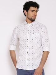 John Players White Printed Trim Casual Shirt