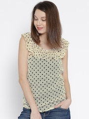 The Gud Look Cream-Coloured Printed Sheer Top