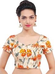 SALWAR STUDIO Beige & Orange Floral Print Saree Blouse
