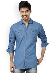 L.A. SEVEN Blue Denim Slim Fit Casual Shirt