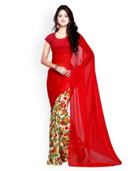 Ligalz Red Chiffon Printed Saree