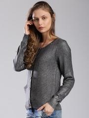 GAS Charcoal Grey & Silver-Toned Woollen Cardigan