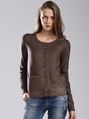 GAS Brown & Gold-Toned Woollen Cardigan