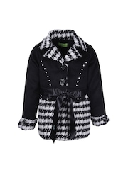 CUTECUMBER Girls Black & White Printed Coat