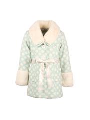 CUTECUMBER Girls Green & Cream-Coloured Polka Dot Print Coat