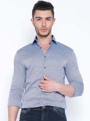Celio Blue Patterned Casual Shirt