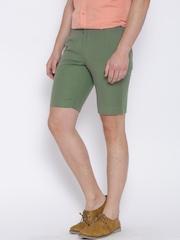 Blackberrys Green Linen Sharp Fit Shorts