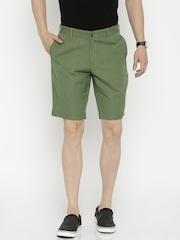 Blackberrys Green Linen Sharp Fit Shorts