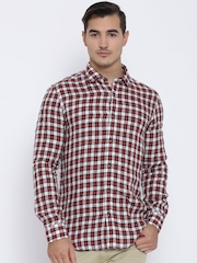 Blackberrys Red Linen Checked Trim Fit Casual Shirt