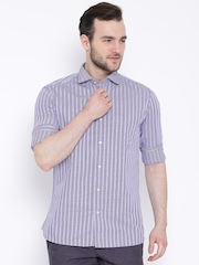 Blackberrys Lavender Striped Fitted Fit Casual Shirt