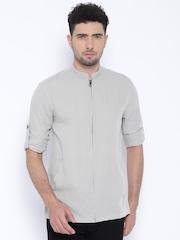 Jack & Jones Grey Linen Slim Fit Casual Shirt