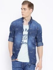 Jack & Jones Navy Printed Slim Denim Shirt