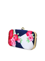 Hepburnette Blue & Pink Printed Box Clutch