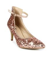 Jove Women Pink & Gold-Toned Sequinned Heels
