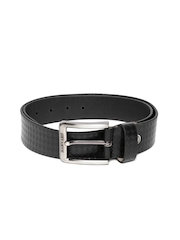 Harvard Men Black Textured Genuine Leather Belt