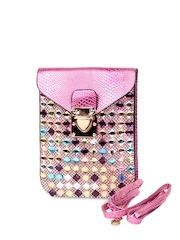 TrendBerry Women Pink Embellished Mobile Pouch