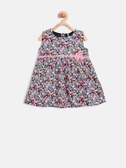 YK Baby Girls Black Floral Print A-Line Dress