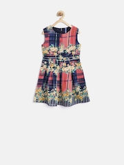 YK Girls Navy Polyester Floral Print Fit & Flare Dress