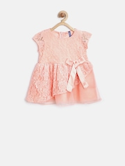 YK Baby Girls Peach-Coloured Layered Lace Fit & Flare Dress