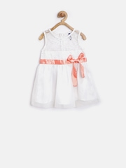 YK Baby Girls Off-White Lace Net Fit & Flare Dress