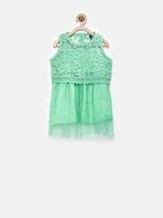YK Baby Girls Mint Green Layered A-Line Dress