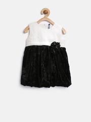 YK Baby Girls Black Colourblocked Fit & Flare Dress