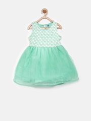 YK Baby Girls Mint Green Fit & Flare Dress