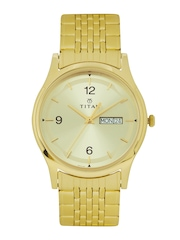 Titan Men Gold-Toned Dial Watch 1638YM02