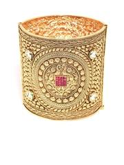 Zaveri Pearls Gold-Plated Stone-Studded Ethnic Cuff Bracelet