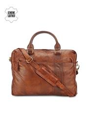 Teakwood Leathers Unisex Tan Brown Genuine Leather Laptop Bag
