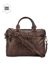 Teakwood Leathers Unisex Brown Genuine Leather Laptop Bag