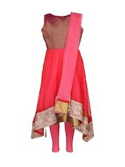 Aujjessa Girls Pink & Red Anarkali Salwar Suit with Dupatta