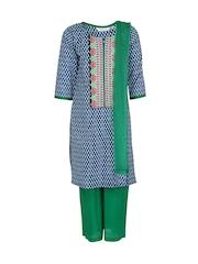 Aujjessa Girls Blue & Green Printed Salwar Suit with Dupatta