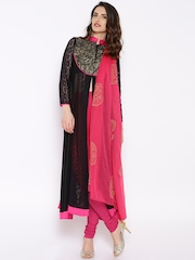 Ira Soleil Black & Pink Churidar Kurta with Dupatta