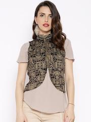 Ira Soleil Black & Gold-Toned Printed Waistcoat