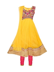 Dew Drops Girls Yellow & Pink Anarkali Salwar Suit with Dupatta
