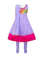 Dew Drops Girls Purple Anarkali Salwar Suit with Dupatta